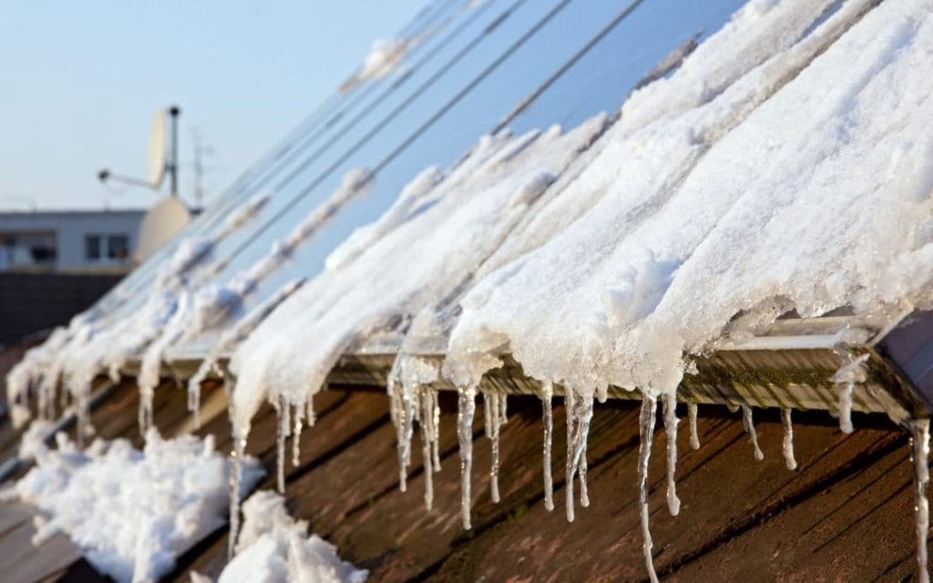 Roof with Ice during Winter