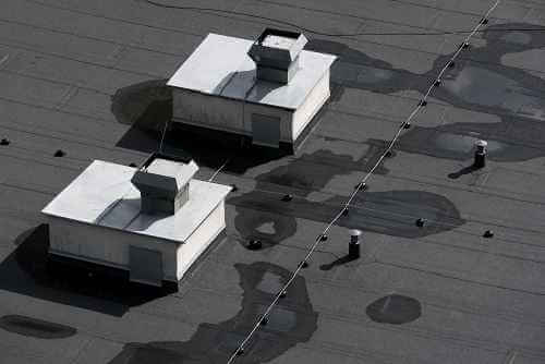 Aerial View of Wet Roof