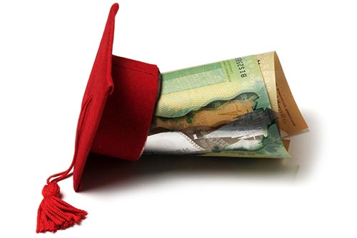 Scholarship Hat and Folded Money